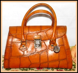 Upscale Southwestern Vintage Dooney Leather Croc Satchel-Vintage Dooney and Bourke