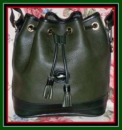 SOLD!!! Like New Ivy Green Drawstring Bag Vintage Dooney Bourke AWL-Vintage, Dooney & Bourke, All-Weather Leather,  Drawstring Bag,  Deep Rich, Ivy, Green , Dooney Bucket Bag , nopin