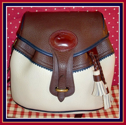 Pristine Bone Brown & Navy Teton Drawstring Saddle Bag Vintage Dooney Bourke Purse-Teton, Drawstring ,Saddle, Bag, Vintage, Dooney & Bourke,