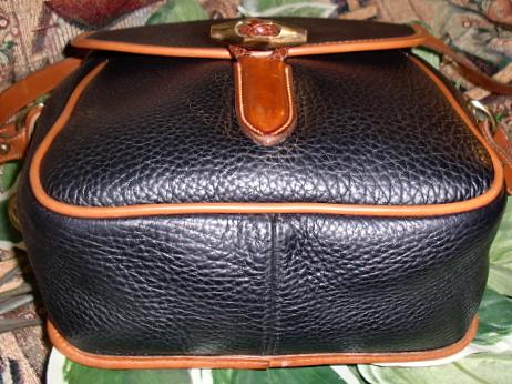Bold Black Loden Bag Vintage Dooney Bourke AWL- Dooney and Bourke,   Vintage, All-Weather Leather,  R88 Loden, Shoulder, Bag ,, nopin