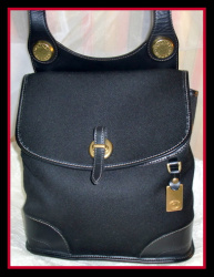 SOLD!!! Classic Black Denim & Leather Dooney Bourke Shoulder Bag-Black ,Denim & Leather, Dooney, Bourke, Shoulder, Bag,, nopin, vintage dooney