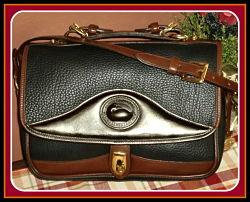 Exclusive Black Vintage Dooney Carrier Bag with Chocolate Eclair Icing-Black Vintage Dooney Carrier Bag , Vintage Dooney & Burke, Dooney Carrier,Vintage Dooney and Bourke  All-Weather Leather® Collection  Large Carrier Shoulder Bag/Mini-Briefcase
