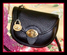 Zippy All Black Licorice Cavalry Bag Vintage Dooney-All Black Licorice Cavalry Bag Vintage Dooney