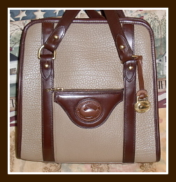 Breathless Dark Chocolate & Dark Taupe Satchel Shoulder Bag-Vintage Dooney Bourke
