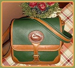 Aged to Perfection Cypress Green Vintage Dooney Surrey Bag-Vintage Dooney and Bourke,  All-Weather Leather® Collection,  R94 Small Surrey Bag, dooney, burke, surrey,