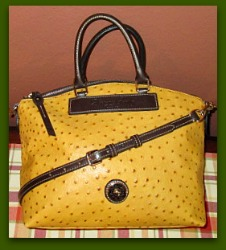 Yummy Buttercup Yellow Dooney Ostrich Satchel Shoulder Bag! Like New!-Dooney & Bourke Ostrich Bag, dooney satchel, dooney shoulder bag