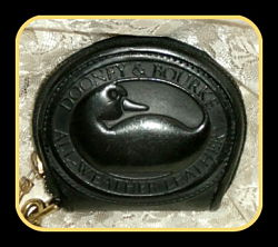 Licorice Black Big Duck Zip-a-Long Dooney Coin Purse-Vintage Dooney and Bourke