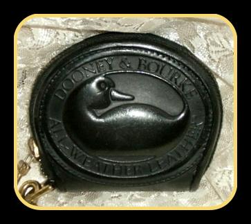 Licorice Black Big Duck Zip-a-Long Dooney Coin Purse