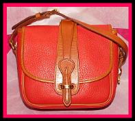 Radiant Red Vintage Dooney Equestrian Bag-Vintage Dooney and Bourke,  All-Weather Leather® Collection,  Radiant Scarlet Red and British Tan,  Equestrian, Binocular Bag ,#R56