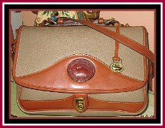 Business or Pleasure Taupe & Tan Large Carrier Dooney Bourke AWL-Taupe & Tan Large Carrier Dooney Bourke AWL