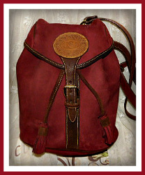 Ripe Raspberry Chocolate Dipped Dooney & Bourke Nubuck Back Pack-burgundy, rouge, dark brown nubuck, suede, backpack,Color, Dooney & Bourke, Nubuck ,Back ,Pack,