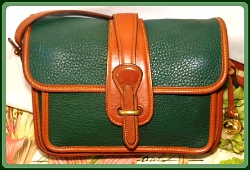 Shimmering Cypress Green Dooney Pocket Equestrian Bag-Vintage Dooney and Bourke All-Weather Leather