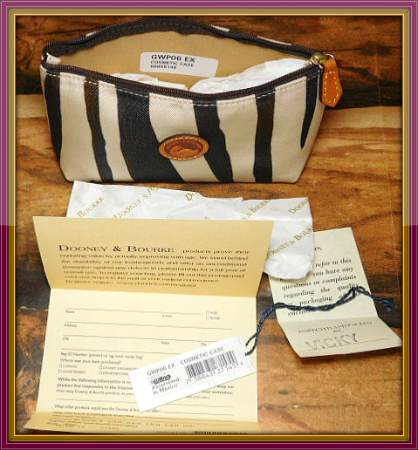 Zebra Cosmetic Case Dooney and Bourke