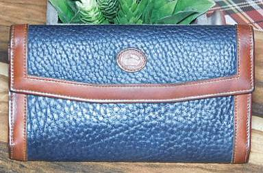 Navy Blue Wallet Checkbook& Coinpurse Dooney Bourke AWL