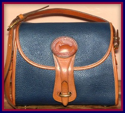 Blueberry Muffin Blue Essex Vintage Dooney Shoulder Bag-Navy Blue Essex Vintage Dooney Shoulder Bag