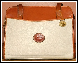 French Almond Biscotti Vintage Dooney Zip Top Satchel Shoulder Bag