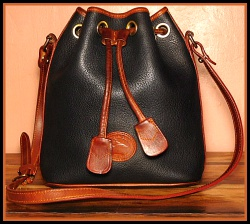 Black Drawstring Vintage Dooney Shoulder Bag