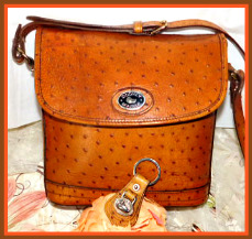 Rich Dahlia Butterscotch Dooney Bayou Flap Shoulder Bag & KeyRing-Bayou Collection