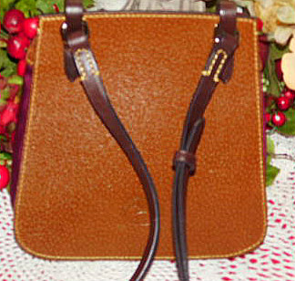 Luscious Wine Leather & Nylon Saddle Bag Dooney Bourke New!