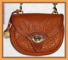 SOLD!!! Vintage Mint Dooney & Bourke AWL Belt Purse in Rare Peanut Color!-Vintage Mint Dooney & Bourke AWL Belt Purse, All Weather Leather Dooney & Bourke   Shoulder Bag/Crossbody Bag , Rare, Peanut Color,  Dooney, Bourke, AWL purse, small tack bag, equestrian belt bag, leather dooney tack bag, nopin