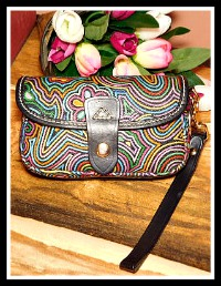 Fabulous Rainbow Dooney Flap Wristlet