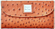 Caramel Cappuccino Ostrich Dooney Bourke Leather Continental Clutch NEW!-Dooney and Bourke Accessories Wallet