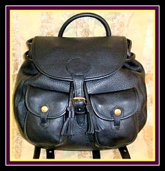 Sassy Black Vintage Dooney Leather Saddlebag Backpack-Black Vintage Dooney, Leather Saddlebag Backpack