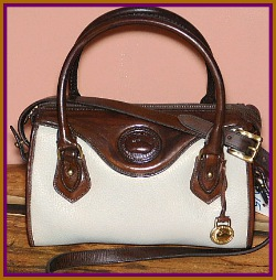 Positively Pearl & Burnt Cedar Dooney Satchel Shoulder Bag-Satchel Shoulder Bag, vintage dooney and bourke, vintage dooney satchel