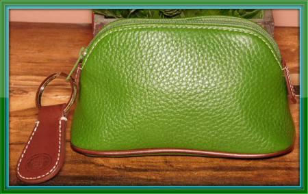 Green Dooney AWL Zippered Cosmetic case w/Key Fob