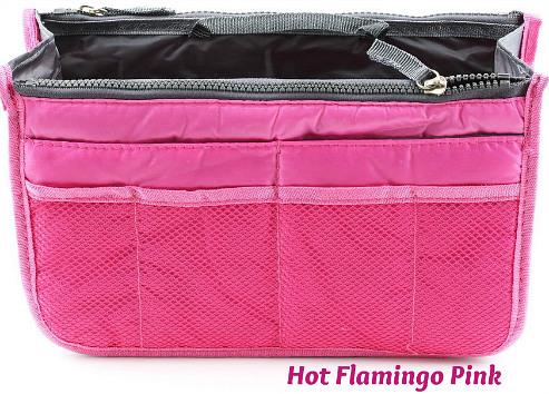 Handbag Organizer Insert  Hot Flamingo Pink