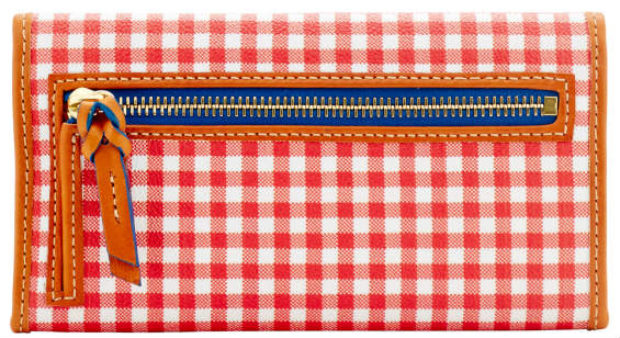McIntosh Apple Red Gingham Dooney Clutch Wallet