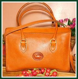 Extraordinary Ginger Brown Vintage Dooney Shoulder Satchel-Vintage Dooney and Bourke  All-Weather Leather AWL  Shoulder Satchel Zipper-Top Case