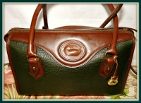 Elegant Emerald Peacock Vintage Dooney Shoulder Satchel-Vintage Dooney and Bourke