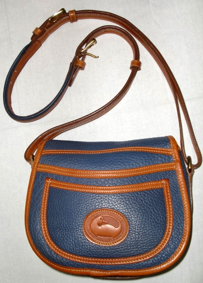 SOLD!!!Slate Blue Dooney and Bourke All Weather Leather Horseshoe Bag Mint & Rare-Dooney and Bourke, All Weather Leatherr,Horseshoe Bag, Dooney's Rare Oringinal Small Horseshoe Bag, original horseshoe bag, dooney horseshoe, duck fob, db fob, solid brass, solid brass buckle, solid brass duck fob, duck seal, vintage horseshoe bag, hourseshoe purse, DB, Dooney AWL, Blue Dooney, slate blue bag, slate blue leather, blue leather purse, mint condition purse, slate blue dooney,