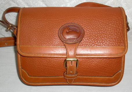 SOLD! Dooney & Bourke All Weather Leather Mini Rectangular Surrey Bag-Dooney & Bourke, Dooney, Bourke, Burke, Surrey Bag, equestrian purse, Surrey, Surrey Leather Purse, surrey awl bag, peanut color, peanut color dooney, vintage brown dooney, vintage purse, vintage shoulder bag, vintage crossbody, rectangular surrey bag, security purse, crossbody style, dooney serial number, duck seal, duck fob, authentic Dooney, clean vintage, mint vintage, vintage dooney surrey bag, popcled all weather leather, brass hardware,