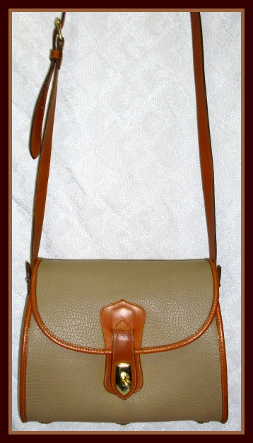 Dreamy All Weather Leather Dooney & Bourke Arrowhead Essex Bag Taupe & Tan-Dooney, Bourke, Essex, Vintage purse, Essex Dooney, Vintage, AWL Dooney, AWL, Dooney, Arrowhead Dooney, All Weather Leather Dooney, Bourke, Arrowhead Essex, Bag, highly prized Dooney, shoulder bag, crossbody bag, arrowhead, Dooney Bag, large dooney, durable purse, leather dooney, serial number, authentic, authentic dooney, guaranteed authentic, mint condition,  collectible dooney, collectible, collectible arrowhead, taupe, british tan, leather piping, vintage essex, vintage essex arrowhead