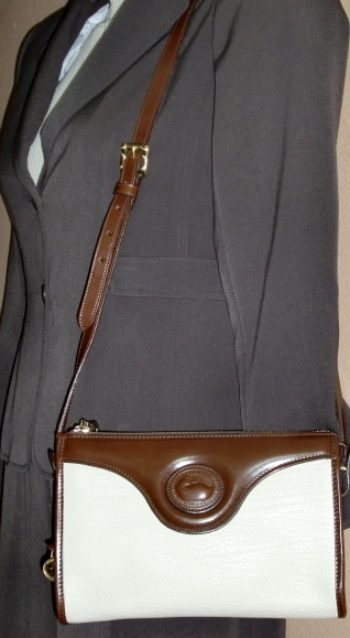 Dooney and Bourke Classic Zip Top Shoulder Bag in Bone with Burnt Cedar Trim-Dooney and Bourke, Classic, Zip Top, Shoulder Bag, Bone color, British Tan Trim, Mint Condition, shoulder,crossbody purse, Zipper Top, Dooney purse, Dooney, AWL, Dooney and Bourke all weather leather, red white and blue tag, duck seal, duck fob, solid brass, brass duck fob, Zipper Top Dooney, duny, Burk, leather, leather purse, vintage, vintage purse