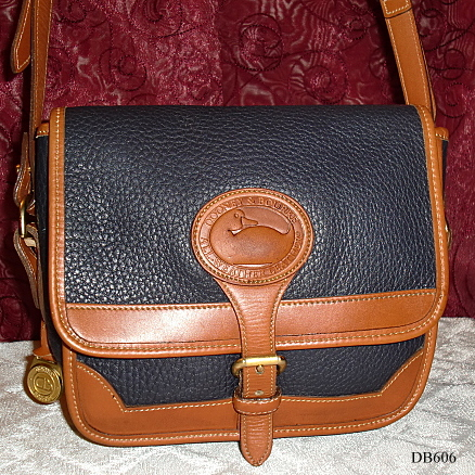 SOLD!!! Dooney & Bourke AWL  Square Surrey Crossbody/Shoulder Bag-Dooney & Bourke, AWL , all weather leather, british tan, navy blue,  Square Surrey Crossbody, Shoulder Bag, vintage purse, vintage surrey bag, equestrian surrey bag, square dooney surrey bag, vintage dooney, navy blue dooney, duck seal, duck fob, duck medallian, brass fob, brass duck fob, leather purse