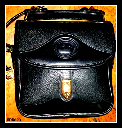SOLD!!! All Black Square Vintage Dooney & Bourke Carrier Shoulder Bag