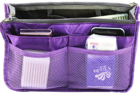 Violet Purple Handbag Organizer Insert with Pockets
