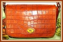Rich Dahlia Butterscotch Dooney Bayou Full Flap Shoulder Bag PLUS Key Ring