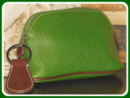 Luscious Peacock Green Dooney AWL Zippered Cosmetic case w/Key Fob