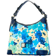New! Tranquility Marine Blue Dooney Somerset Watercolor Hobo