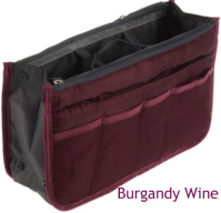 New! Ultimate Burgandy Wine Handbag Organizer Insert with Pockets