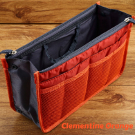 New! Ultimate Clementine Orange Handbag Organizer Insert with Pockets