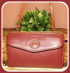 Limited Ruby Merlot Wine Dooney Zip-Along Wallet Crossbody Purse