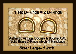 Vintage Dooney Brass D-Ring Set for 1-inch Straps