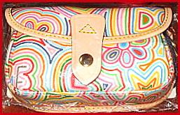 SOLD! New Tuti-Fruiti Rainbow Dooney Flap Wristlet