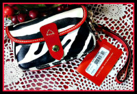Out of Africa Zebra Dooney Wristlet Cherry Trimmed