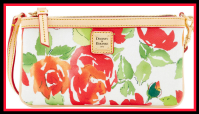 English Cottage Rose Garden Bailey Dooney Bourke Large Slim Wristlet NEW!